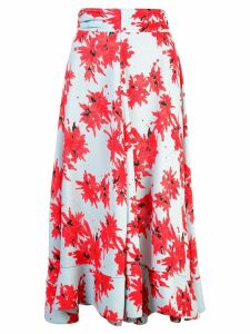Proenza Schouler Splatter Floral Seamed Skirt - Red