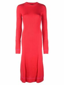 Proenza Schouler Ribbed Knit Long Sleeve Dress - Red