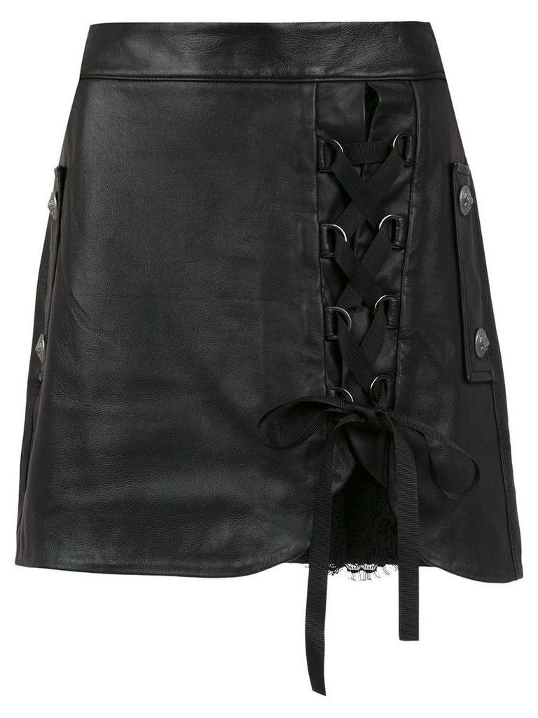 Andrea Bogosian lace up leather skirt - Black