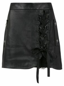Andrea Bogosian lace up leather skirt - Black
