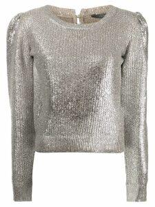 Alexander McQueen metallic foil jumper - Silver