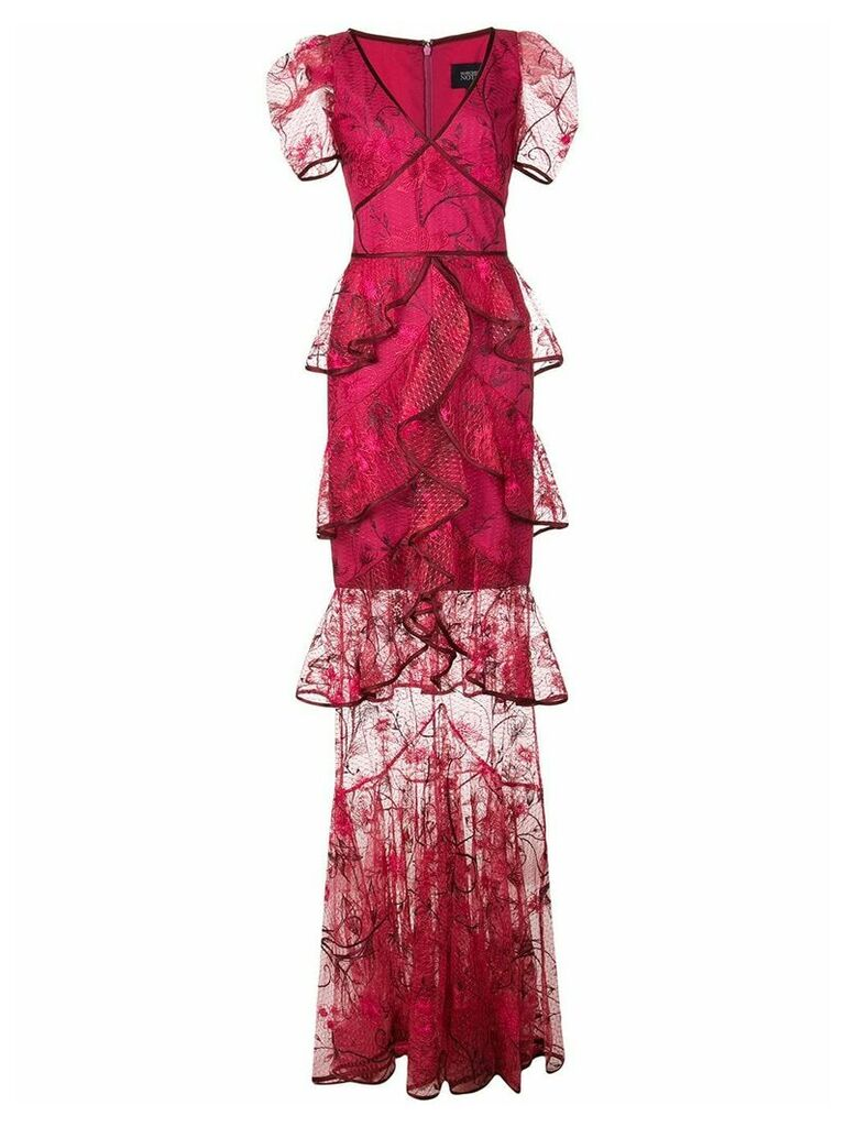Marchesa Notte embroidered long dress - Pink