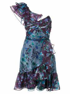 Marchesa Notte floral print mini dress - Blue