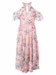 Marchesa Notte cold shoulder floral dress - Pink