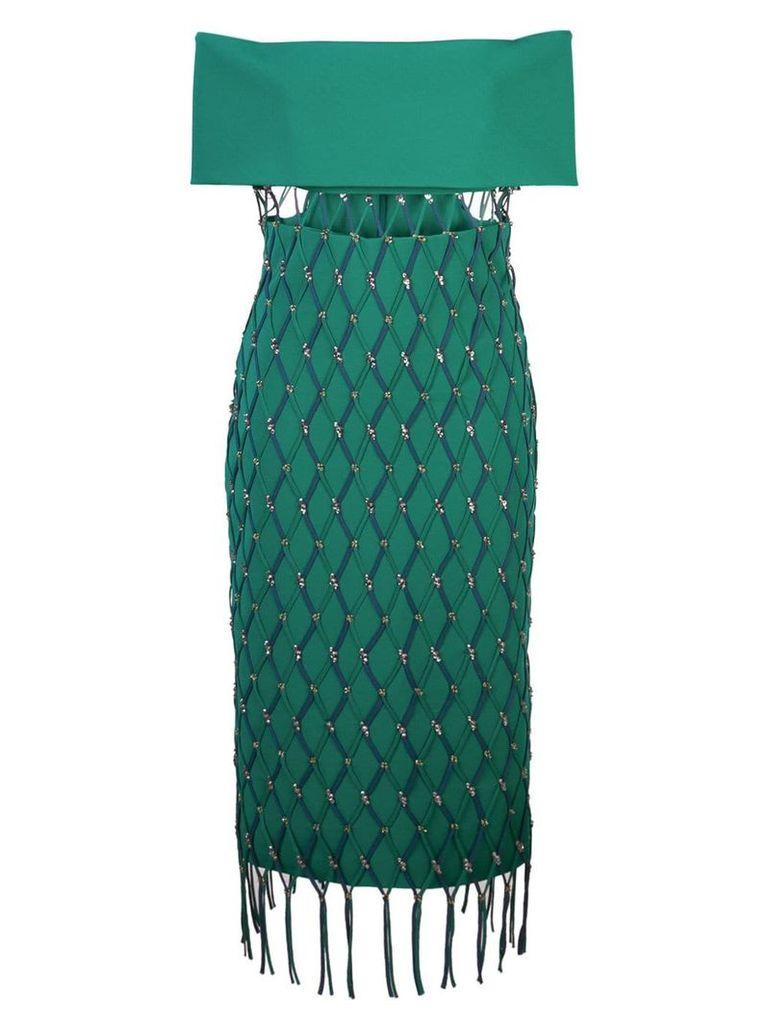 Cushnie net detail strapless dress - Green