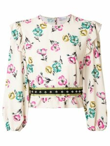 Red Valentino ruffled floral blouse - Neutrals