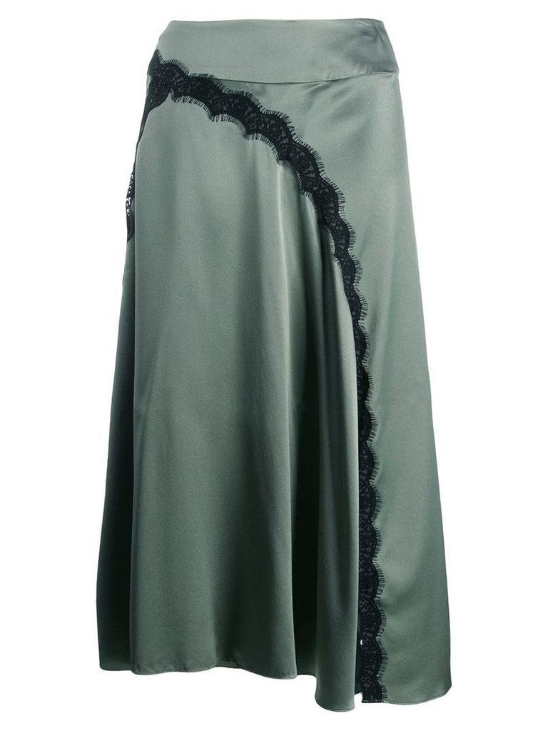 Dorothee Schumacher satin midi skirt with lace insert - Green