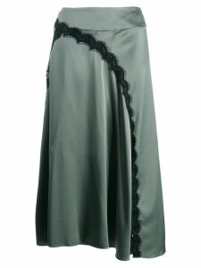 Dorothee Schumacher satin midi skirt with lace insert - Green