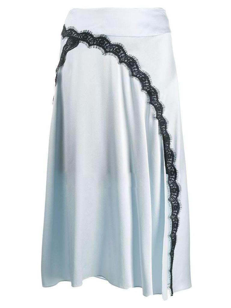 Dorothee Schumacher satin midi skirt with lace insert - Blue
