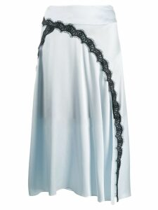 Dorothee Schumacher satin midi skirt with lace insert - Blue