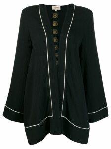 Zeus+Dione Poros contrast trim kimono - Black