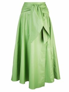 Tibi glossy wrap skirt - Green