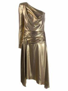 Each X Other one shoulder asymmetric midi dress - GOLD