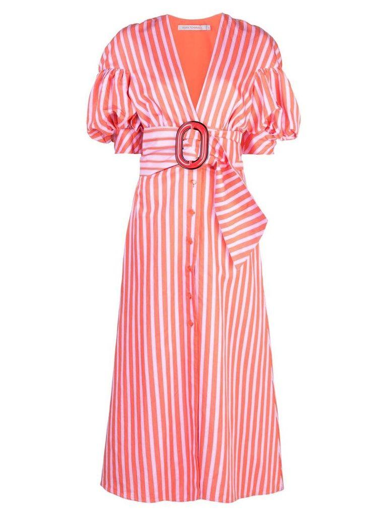 Silvia Tcherassi striped puff-sleeve shirt dress - Red