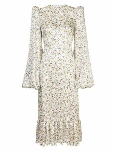 The Vampire's Wife floral print pouf sleeve dress - White