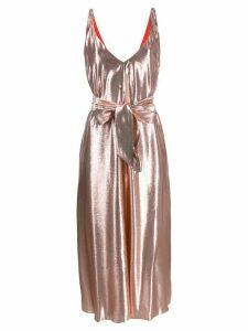 Indress V-neck belted dress - Pink
