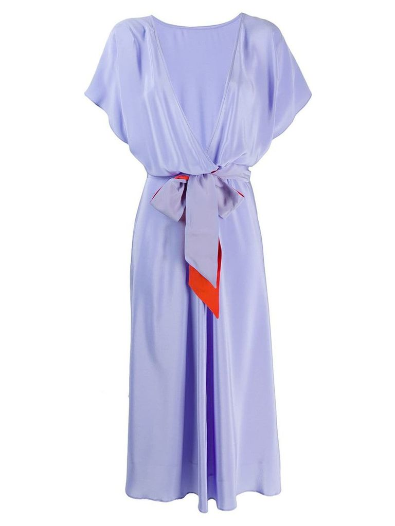 Indress short-sleeve flared dress - Purple