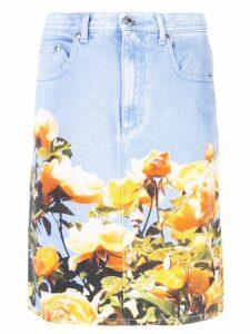 MSGM roses print denim skirt - Blue