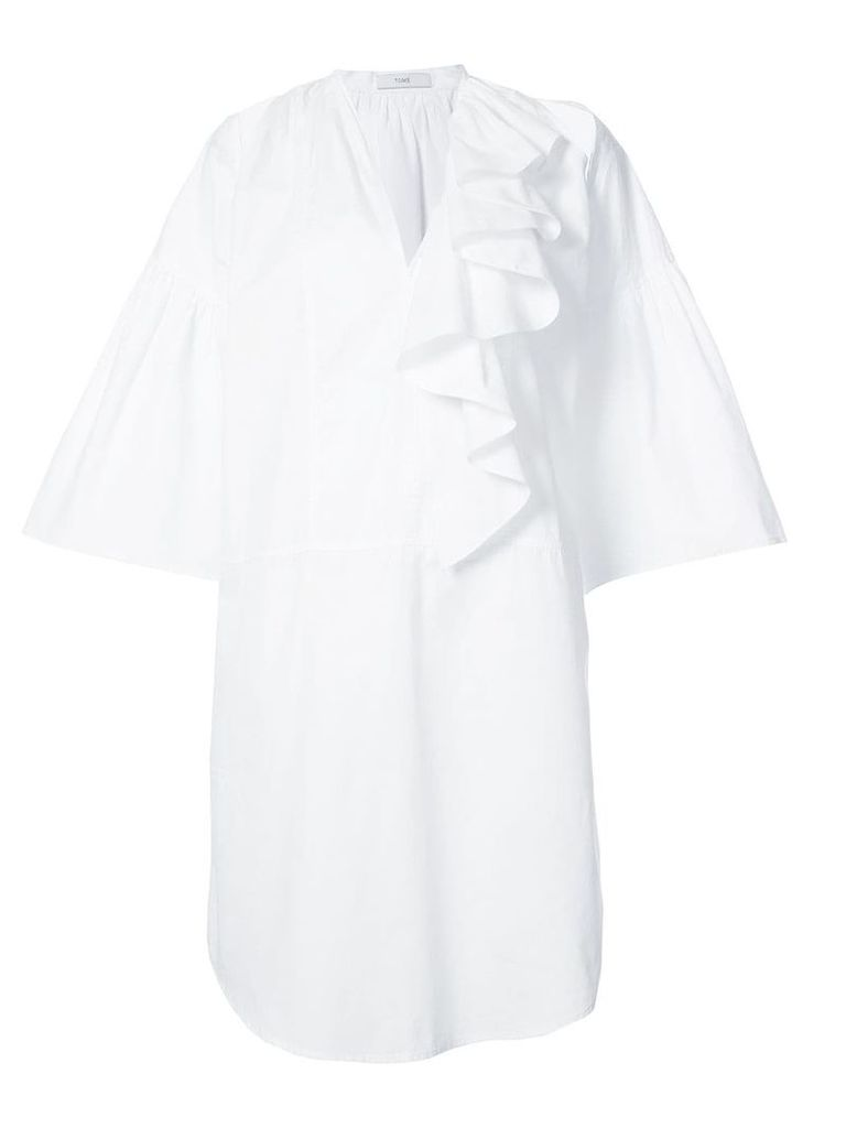 Tome cutout tunic shirt with frills - White