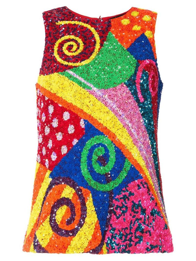 Manish Arora swirl patchwork sequinned top - Multicolour