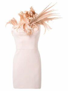 Isabel Sanchis feather neckline dress - Pink