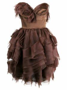 Ermanno Scervino technical organza dress - Brown