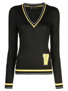 Versace letter patch sweater - Black