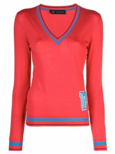 Versace letter patch sweater - Red