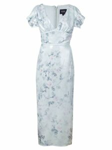 Marchesa Notte floral fitted dress - Blue