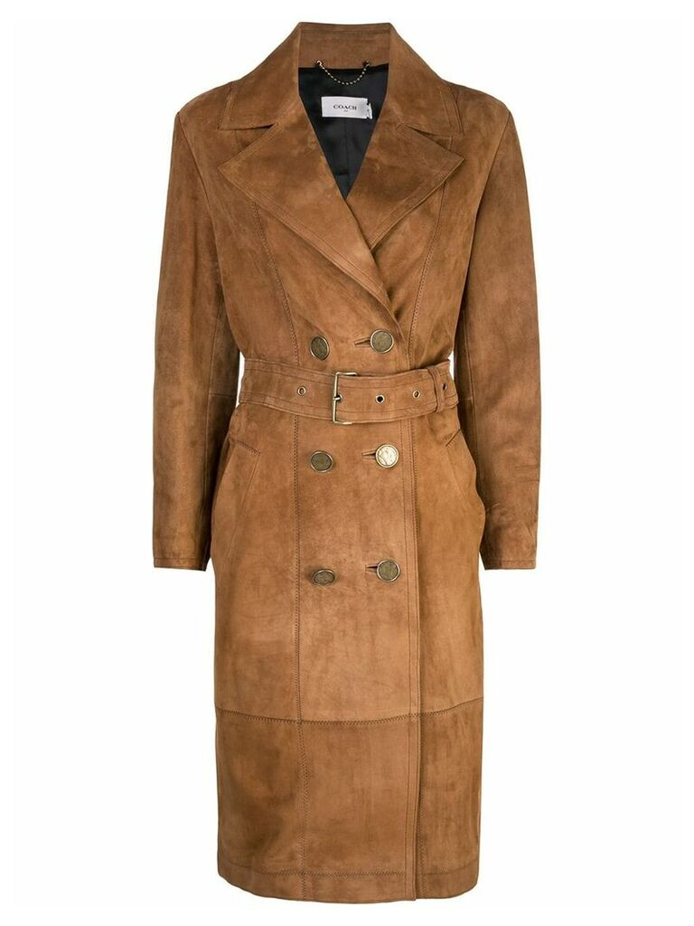 Coach double-breasted trench coat - Brown