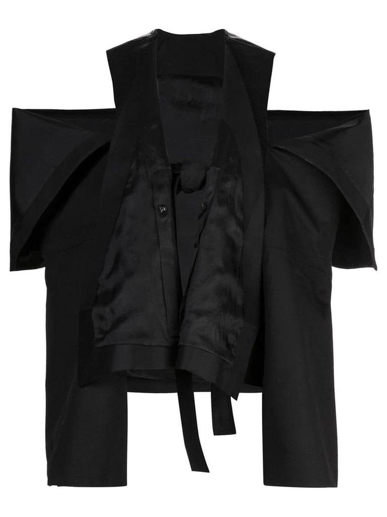 Rick Owens peeled sleeve trench coat - Black
