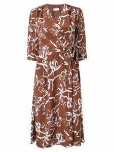 Ballsey floral print wrap dress - Brown