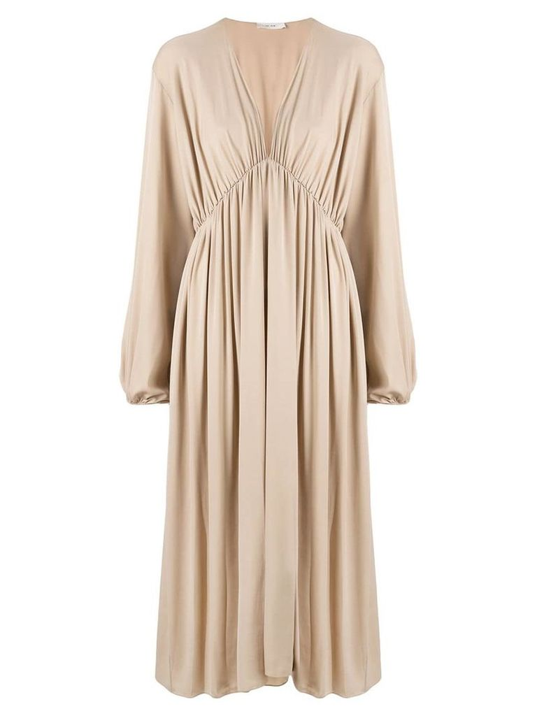 The Row gathered mid-length dress - Brown