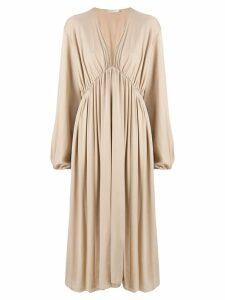 The Row gathered mid-length dress - Brown