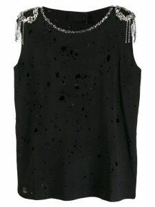 Philipp Plein shoulder embellished distressed tank - Black