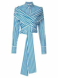 MSGM crossover striped shirt - White
