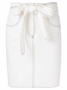 MSGM contrast stitch skirt - White