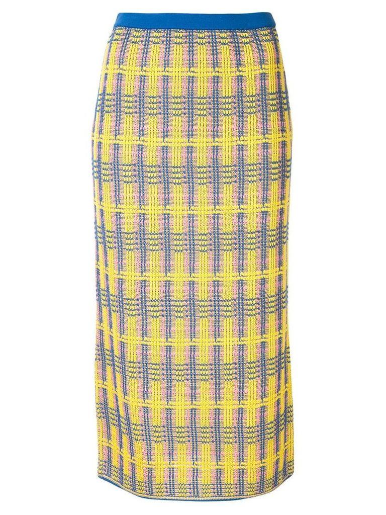 Le Ciel Bleu check knit skirt - Yellow