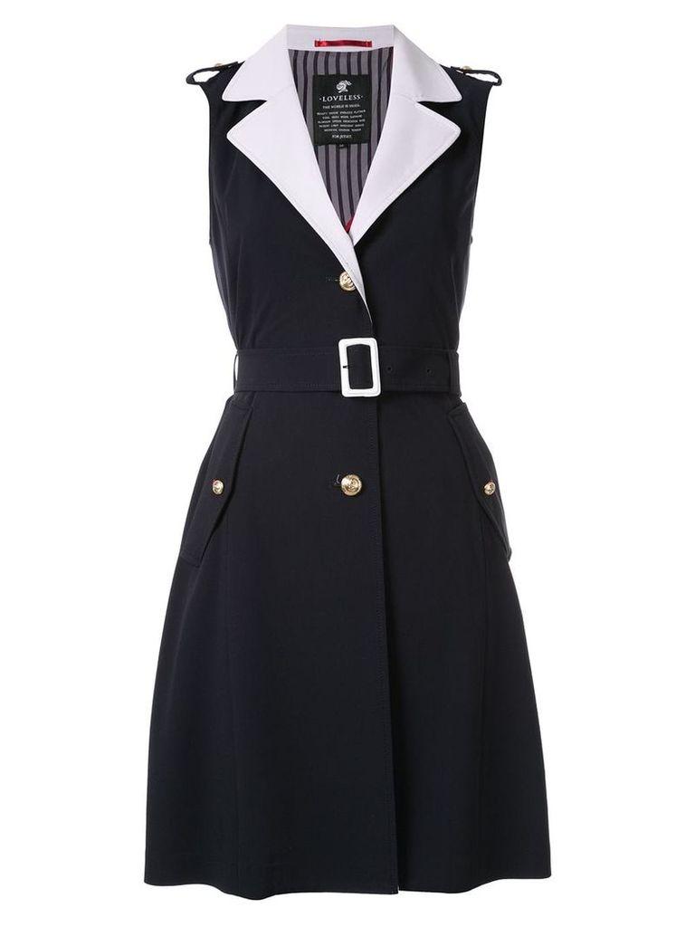 Loveless sleeveless trench coat - Blue