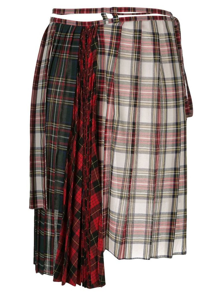 Facetasm asymmetric tartan skirt - Red