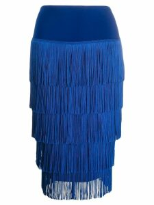 Norma Kamali fringed pencil skirt - Blue