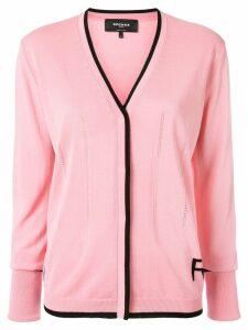 Rochas black trim V-neck cardigan - Pink