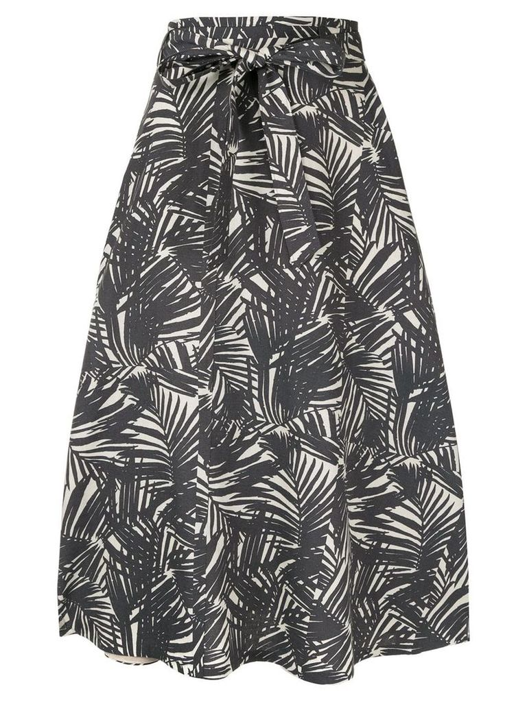 Ballsey leaf print midi skirt - Grey
