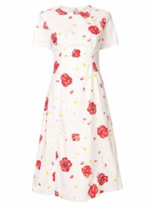 Marni printed pintuck midi dress - White