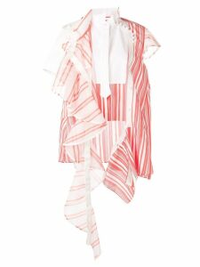 Sacai deconstructed striped dress - Red