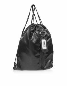 MM6 Maison Martin Margiela Designer Handbags, Black Drawstring Nylon Backpack