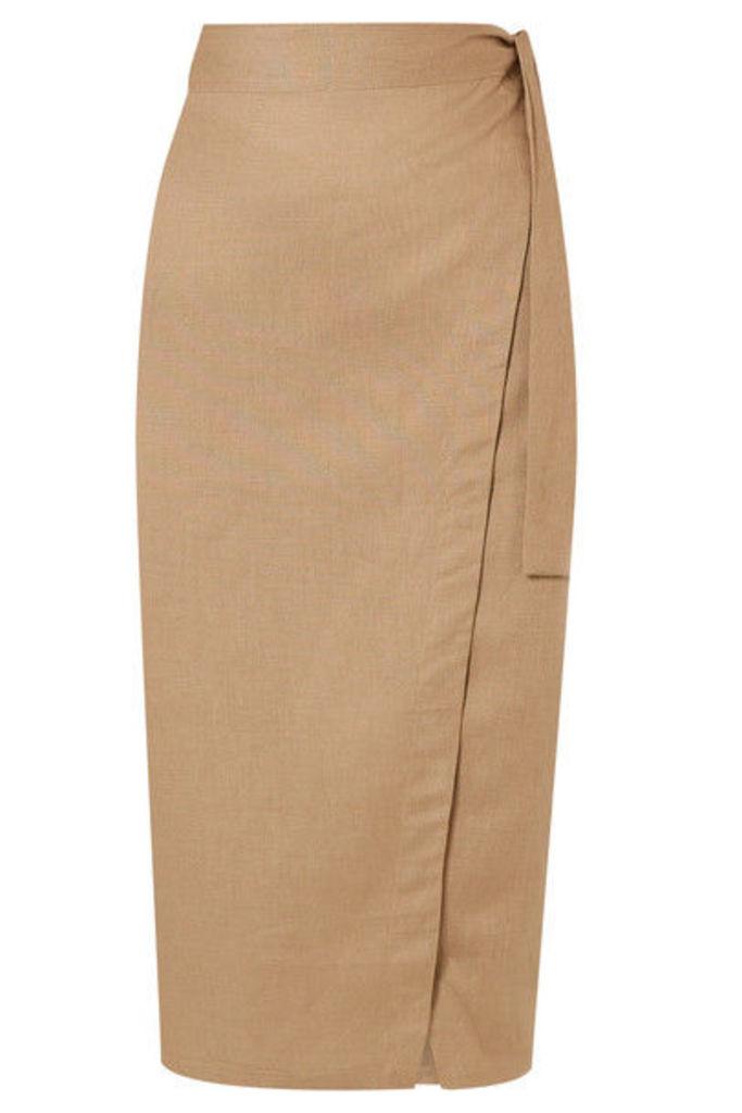 Reformation - Florence Linen Wrap Midi Skirt - Beige