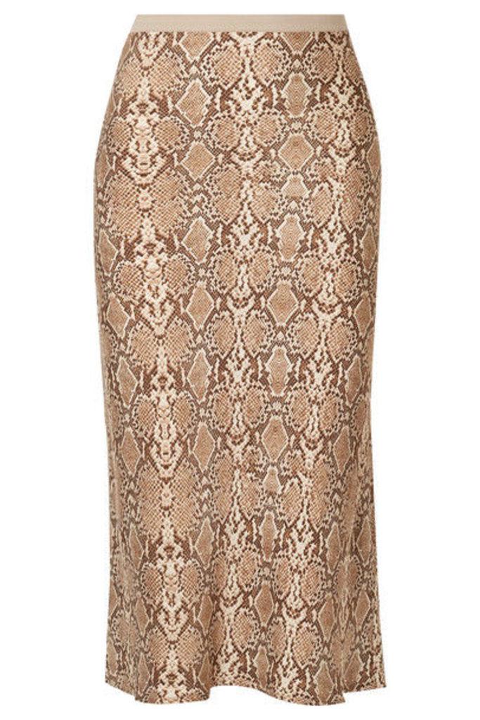 Anine Bing - Bar Snake-print Silk-charmeuse Midi Skirt - Snake print