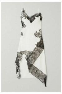 Marques' Almeida - Asymmetric Lace-trimmed Cotton-poplin Midi Dress - White