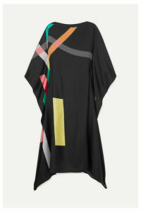 Louisa Parris - Frank Printed Silk-twill Dress - Black